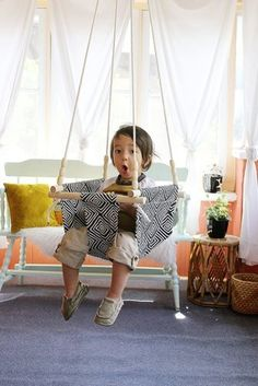 It takes a slightly elevated skill level (and confidence!) to attempt this DIY from A Beautiful Mess, but this indoor baby/toddler swing will become your numero uno conversation piece and the coolest statement in your child's room — guaranteed. Source: A Beautiful Mess