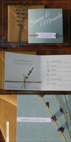 Bruiloft | Trouwkaart | romantisch | landelijk en natuurlijk | vintage touch | oud groen | karakter door bijzondere papier met linnen textuur | touw | lavendel | kraft karton envelop | doodle | icoontjes | gloednieuw | vanaf € 1,95 per stuk | kies zelf de achtergrondkleur en / of het lettertype, zonder extra kosten | Studio Altena