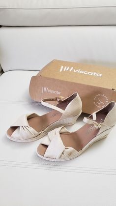 new style f75ec b27c8 Viscata wedge made in Spain 41eur 10us silk ivory fashion clothing shoes