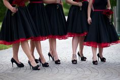 Rockabilly bridesmaids reverse red with black petticoat