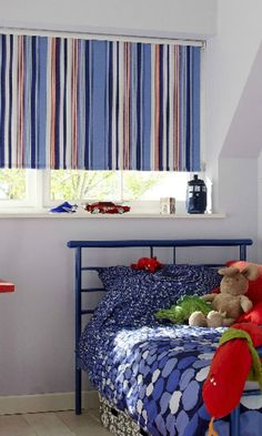 Go bold with brightly colour stripes on a made to measure roller blind. Mix with contrasting pattern in a neutrally decorated room to make an impact. Our circus royale fabric would be perfect for this in a living room or bedroom. www.hillarys.co.uk/