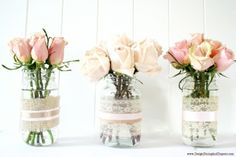 What a simple and pretty idea. I have tons of mason jars and this would be a great way to display the roses from the garden this summer.