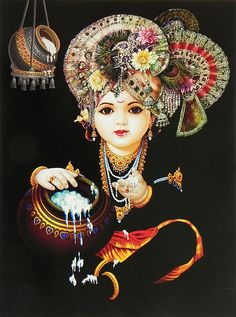 Little Krishna Enjoying the Taste of Butter (Reprint On Card Paper - Unframed))