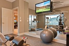 Home gym..... ditch the stepper & treadmill, you can run outside! Add a rowing machine that can be set to the wall and utilize the extra space for aerobic activity. Top notch!