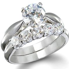 Selina's Round Cubic Zirconia Wedding Ring Set