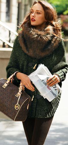 gorgeous sweater coat & faux fur scarve