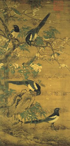 Four Magpies by Bian Jingzhao. Early Ming Dynasty (1368–1644). Hanging scroll; colour on silk. National Palace Museum Wikimedia.