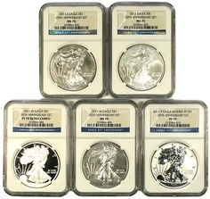 2011 25th Anniversary Silver Eagle NGC Graded MS/PF-70 Perfect! - MintProducts.com Silver Eagles, Silver Dollar, 25th Anniversary, Ms