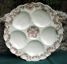 Antique Haviland Limoges Oyster Plate, Rose Garlands. Early 1900's.