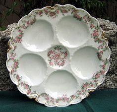 Antique Haviland Limoges Oyster Plate, Rose Garlands. Early 1900's.