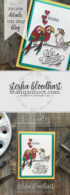 Bird Banter Stamp Set from Stampin' Up! 2018 Occasions Catalog for the January 2018 Remarkable InkBig Blog Hop created by Stesha Bloodhart, Stampin' Hoot! #steshabloodhart #stampinhoot
