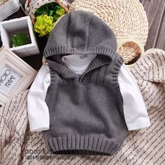 Online Shop New 2015 spring autumn children sweater boys Knit Vest kids clothes ., Online Shop New 2015 spring autumn children sweater boys Knit Vest kids clothes baby waistcoat knitwear infant Casual hooded coat pullover Baby Boy Knitting, Knitting For Kids, Baby Knitting Patterns, Knit Baby Sweaters, Boys Sweaters, Knitting Sweaters, Knit Vest, Baby Cardigan, Cute Outfits For Kids
