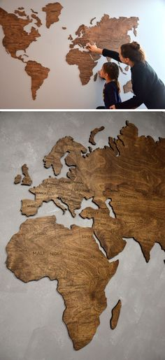 This wood world map is slightly raised off the wall to add dimension to your room and help warm up your space. #coolthings #woodworkinglivingroom