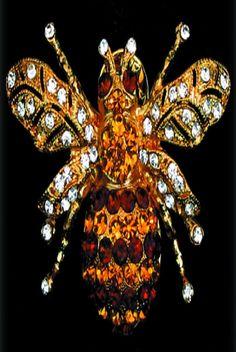French Bee brown/gold, Swarovski, Gold/Brown