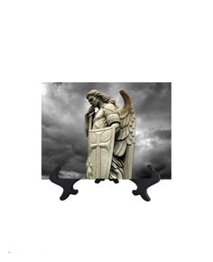St. Michael the Archangel With Shield on Ceramic Tile - 6W x 8H (includes free stand)