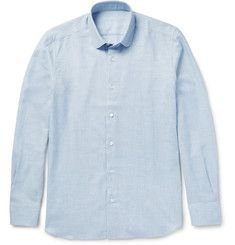CarusoSlim-Fit Penny-Collar Cotton and Wool-Blend Shirt