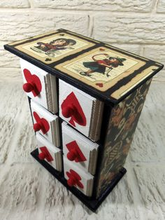 Alice in Wonderland and Playing Card Suits Chest of by poelia, $60.00