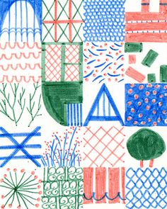 Lie Dirkx - squares of illustration in blue, coral and green. http://obus.com.au/
