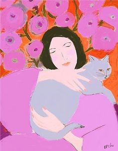 Lady with Grey Cat