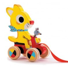 Our Chabada Pull Toy is certain to make your little one laugh! This bold toy features a stylish cat riding a moped with a mouse friend in the front basket! The