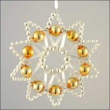 Lace Star Ornament Glass Bead Project Kit ~ Silver and Gold ~ Czech Republic