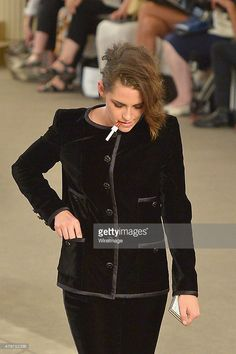Kristen Stewart attends the Chanel show as part of Paris Fashion Week Haute Couture Fall/Winter 2015/2016 on July 7, 2015 in Paris, France.