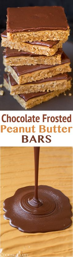YUMMY WARNING - Chocolate Frosted Peanut Butter Bars - this is the best cookie bar recipe! Even my brother who doesn't like dessert LOVES these bars! Cookie Desserts, No Bake Desserts, Just Desserts, Delicious Desserts, Dessert Recipes, Yummy Food, Best Peanut Butter, Peanut Butter Recipes, Brownie Recipes