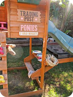 Trading Post sign on swing set fort... homemade by jill