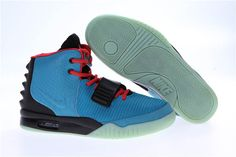 Online Sale New Release Air Yeezy 2 South Beach Nike Brand Basketball Shoes with Red Blue and Black/Green Glow for Men