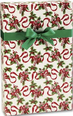 Holiday Gift Wrap - Red Ribbons and Canes Gift Wrap, 24' x 100' (1 roll) - BOWS-X-3028C *** You can find more details by visiting the image link.