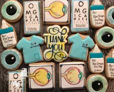 Thank you cookies for the staff at an eye doctors office Doctor Party, Thank You Cookies, Medical Dental, Eye Doctor, Doctor Office, Optometry, Cookie Ideas, Farmers Market, Cookie Decorating