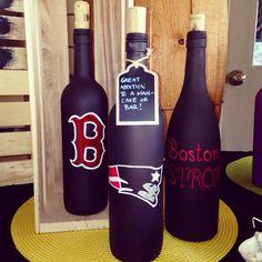 Sports themed painted wine bottles by BottlesByMissy on Etsy, $25.00
