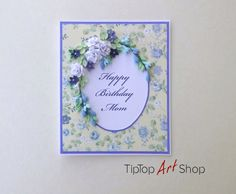 Birthday Quilling Card with Handmade Paper Flowers by TipTopArtShop
