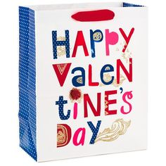 """White Happy Valentine's Day Large Gift Bag, 13"""""""