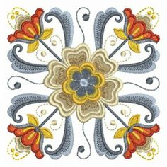 Rosemaling Flowers embroidery design