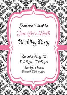 Vintage pink and black invitation card