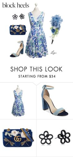 """""""Step Up"""" by coolmommy44 ❤ liked on Polyvore featuring Ralph Lauren, GUESS, Gucci, Marc Jacobs, Accessorize, blockheels, polyvoreeditorial and polyvorecontest"""