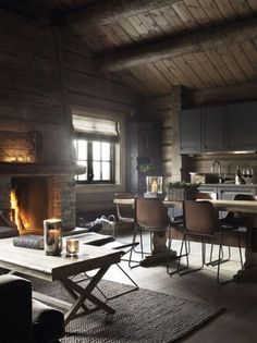 Chalet is a real dream house, comfortable, cozy and with fascinating views! Today we'll have a look at beautiful chalet dining rooms and zones as chalet Casas Containers, Wooden Cabins, Wooden Houses, Cabins And Cottages, Log Cabins, Deco Design, Loft Design, Rustic Interiors, Cabin Interiors