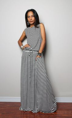 Black White Striped Maxi Dress - Sleeveless dress : Autumn Thrills Collection (New Arrival) Striped Maxi Dresses, Cute Dresses, Casual Dresses, Summer Dresses, Stunning Dresses, African Fashion, Casual Chic, Dress To Impress, Dress Skirt