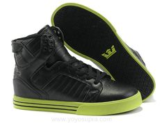 Justin Bieber Supra Shoes Black Light Green