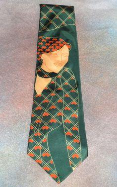 """Vtg Principe Necktie Art Woman Form 4.5"""" W 54.75"""" L Neck Tie Green Made in Italy #Principe #Tie"""