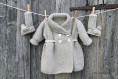 Hand knitted Handmade Baby Girl Wool Coat Size by LittleBeauxSheep, $95.00