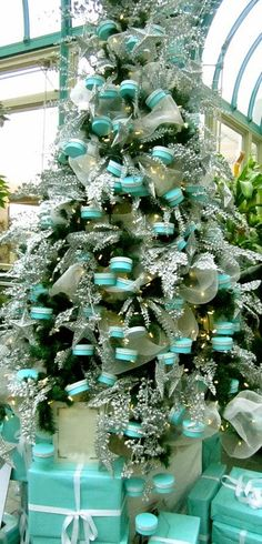 Just the sight of a blue Tiffany & Co box with a white ribbon makes people happy. Why not share your happiness by decorating your Christmas tree this year in a Tiffany blue theme? Here are the steps for how to decorate a Tiffany blue Christmas tree. Noel Christmas, Primitive Christmas, Winter Christmas, All Things Christmas, Christmas Photos, Christmas Mantles, Victorian Christmas, Christmas Lights, Teal Christmas Tree