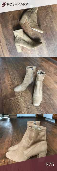 Stretch Zara Suede Ankle Booties Suede ankle booties, zipper on side. Amazing condition! Fits more like a 9.5-10 Zara Shoes Ankle Boots & Booties