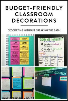 4 ideas to create classroom decorations on a budget.  No need to spend hundreds of dollars decorating your classroom.  Cheap and easy classroom decor! | maneuveringthemiddle.com Cheap Classroom Decorations, Classroom Decoration Images, Classroom Decor Themes, Classroom Design, Classroom Ideas, Classroom Door, Classroom Displays, Classroom Layout, Science Classroom
