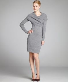 CeCe  fog grey wool-cashmere shawl collar sweater dress  write a reviewq product  retail : $330.00  $198.00