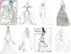 A collage of designer sketches for Princess Kate's wedding gown. Can you spot mine and more importantly…..which gowns are your faves? ;)