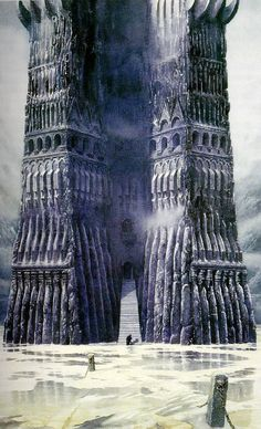 """Alan Lee - Orthanc (after it was flooded). For the movie, Peter Jackson said """"I need you to draw me the rest of it."""" And it was done."""