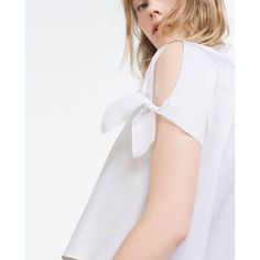Zara Cropped Bow Shirt (64 CAD) ❤ liked on Polyvore featuring tops, bow top, zara shirts, white bow shirt, crop top and zara top