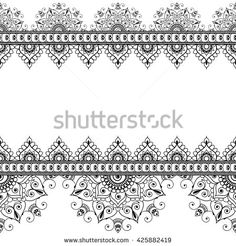 Indian, Mehndi Henna line lace element with circles pattern card for tattoo.